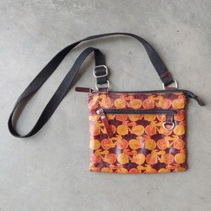Vintage Tooled Leather Bicycle Print Crossbody Bag